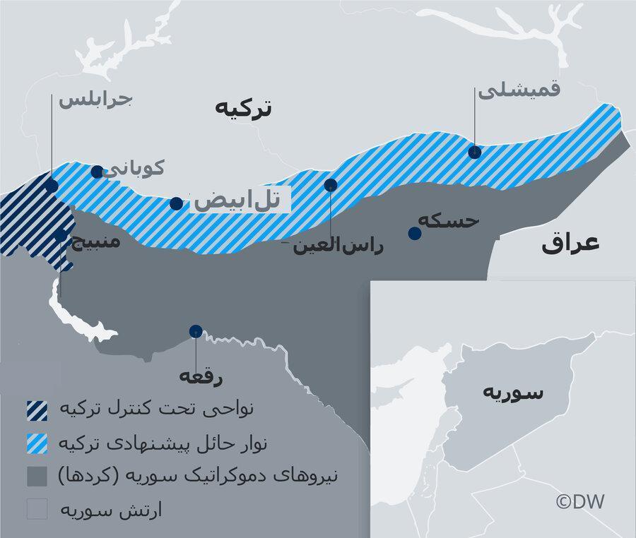 اطلاع نگاشت ، قلمروهای نیروهای در حال جنگ در شمال سوریه