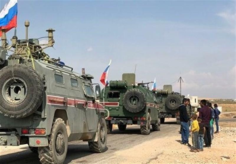 گشت زنی مشترک نظامیان روسیه و ترکیه در استان حسکه سوریه