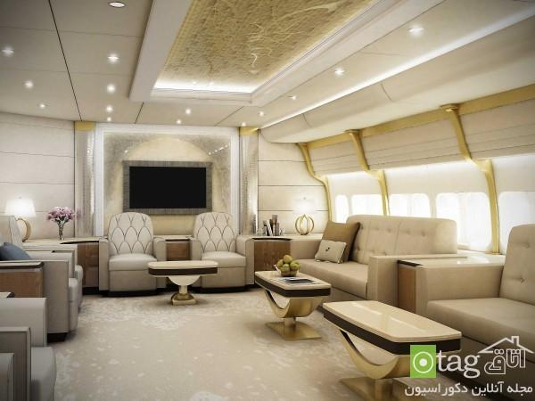 دکوراسیون منزل لوکس و بزرگ در هواپیمای خصوصی بوئینگ 747